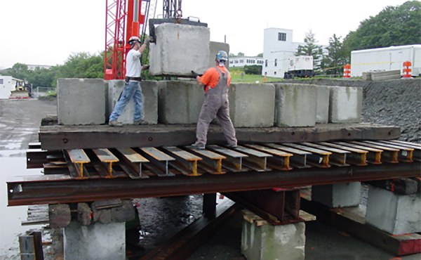 Static load test of H-Pile foundation for Newport Naval Base in Newport, Rhode Island.