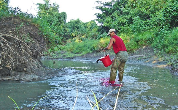 Geosyntec used rhodamine dye as part of a time-of-travel study on Sni-A-Bar Creek.