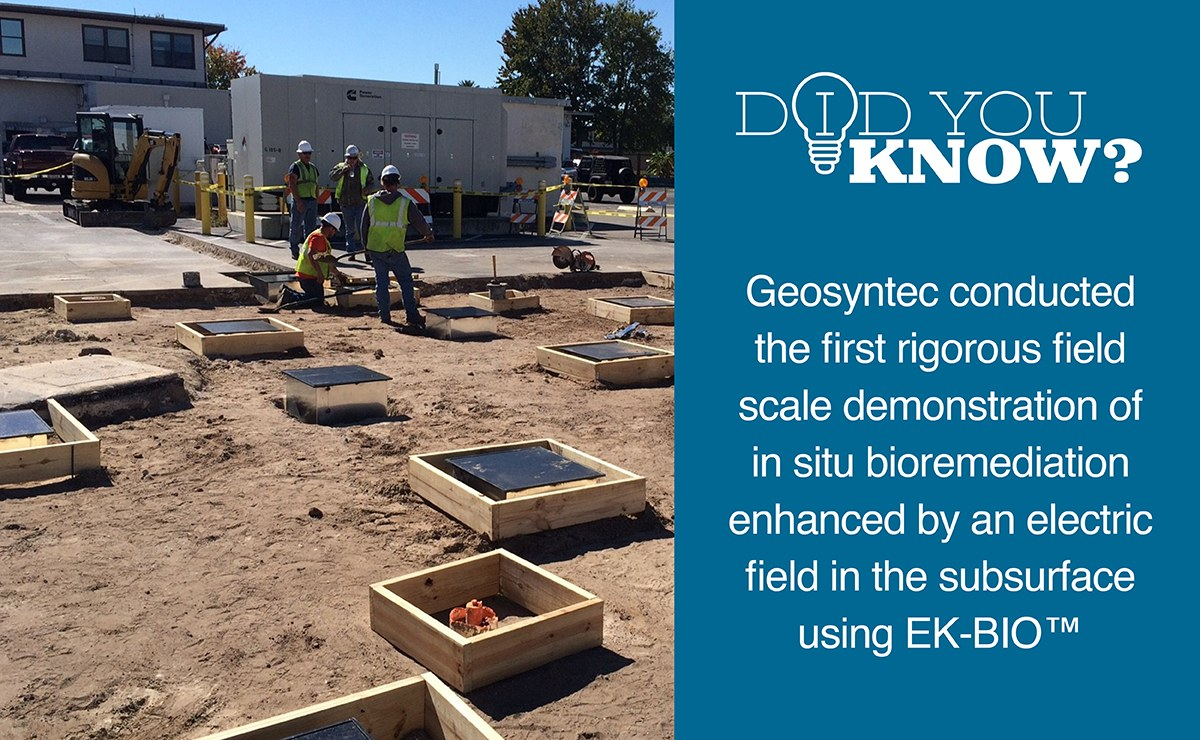 ESTCP funded Geosyntec Team to demonstrate EK-BIO(TM) technology at Naval Air Station Jacksonville. The target zone is a PCE source in a clay unit underlying sandy aquifer underneath an active parking lot.